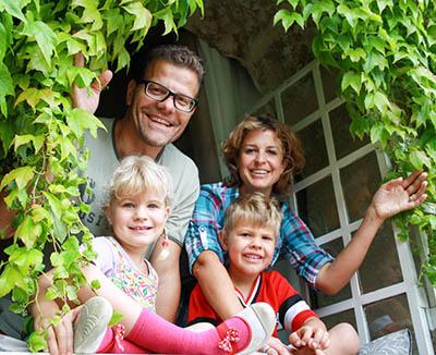 Fabienne, René et leurs enfants